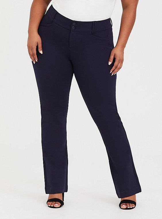 Studio Signature Stretch Navy Premium Ponte Trouser, NAVY, hi-res