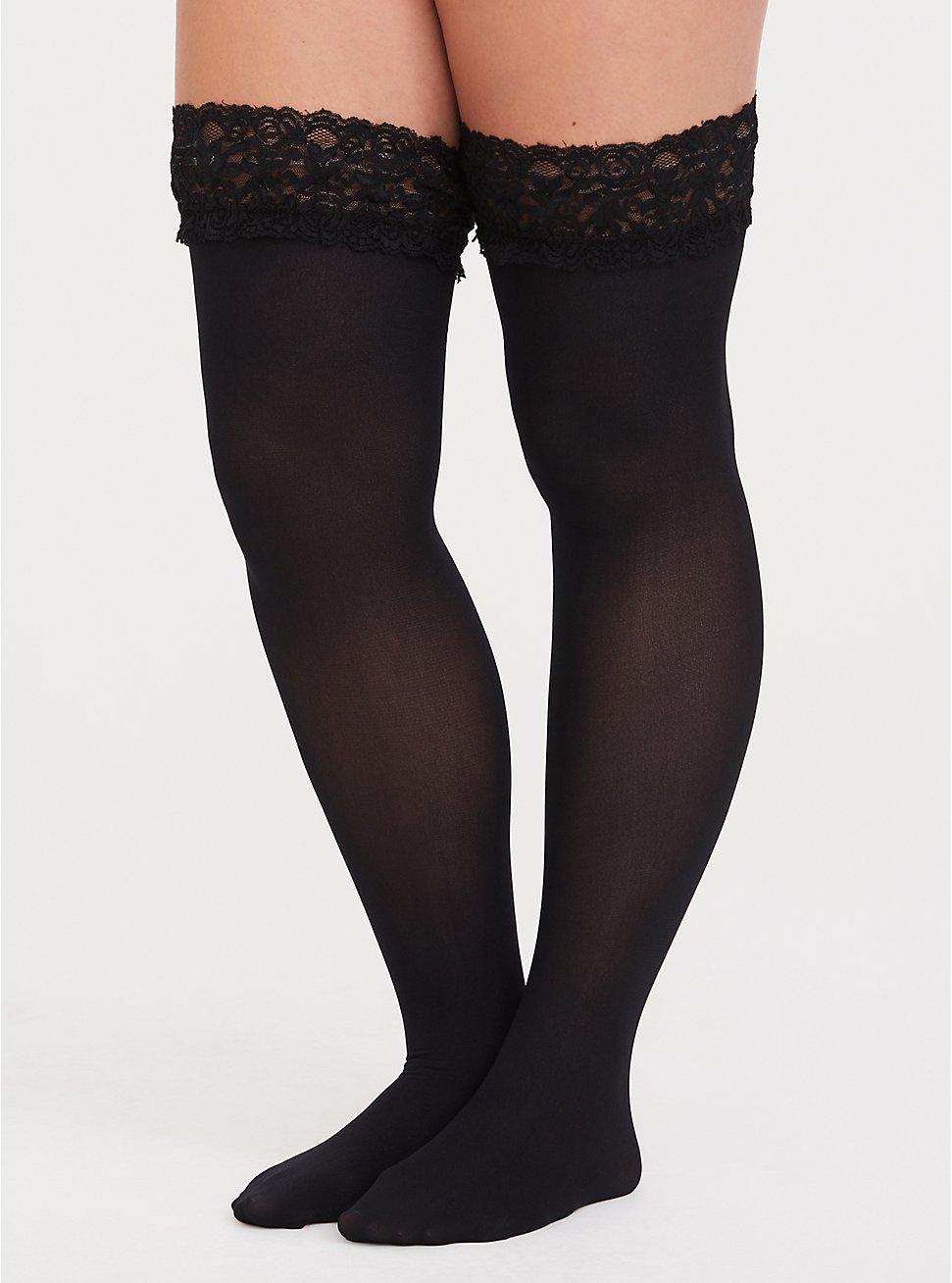 Black Lace Thigh High Tights, BLACK, hi-res