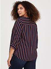 Harper - Black & Orange Stripe Georgette Pullover Blouse, MULTI, alternate
