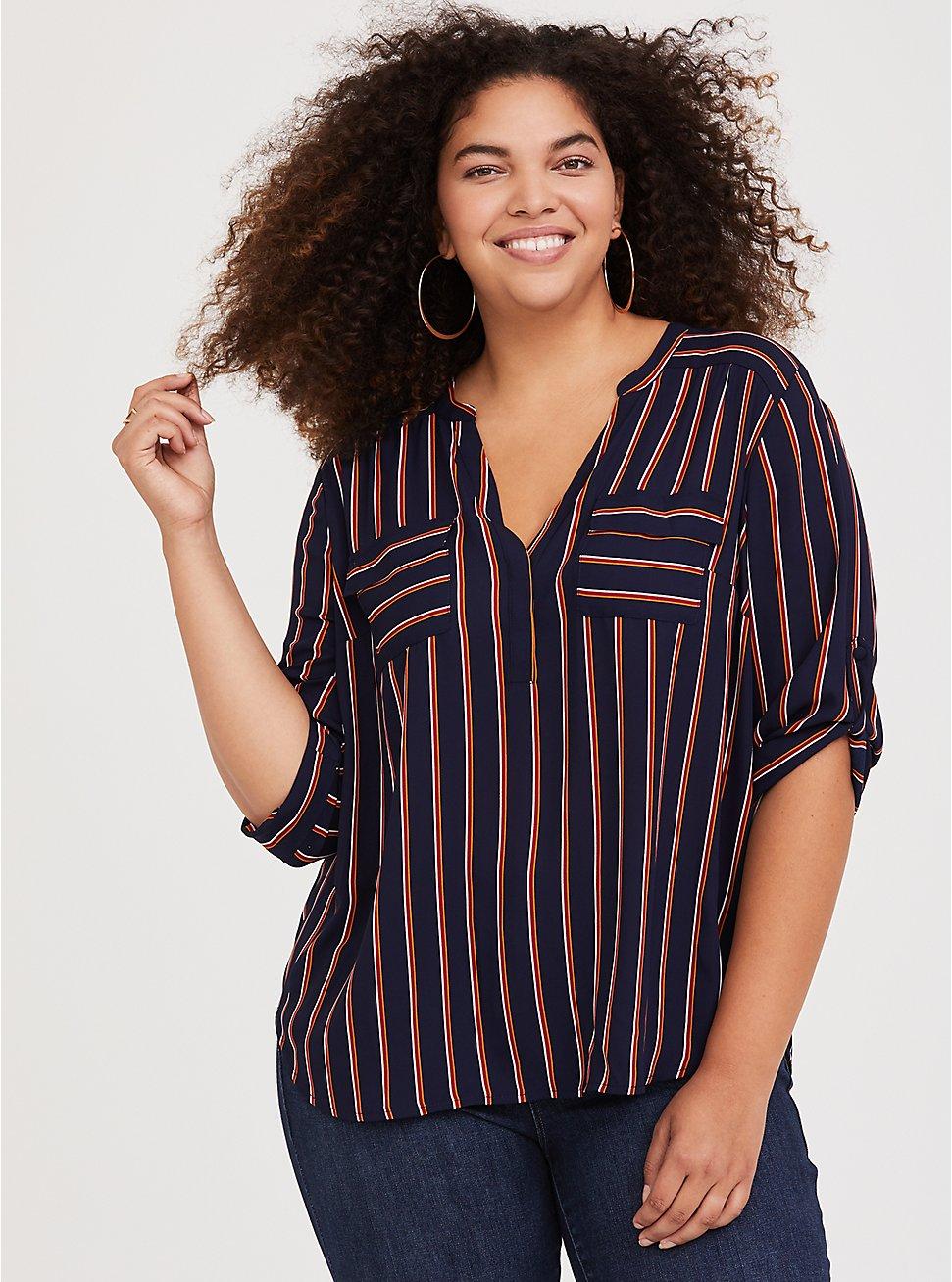 Harper - Black & Orange Stripe Georgette Pullover Blouse, MULTI, hi-res