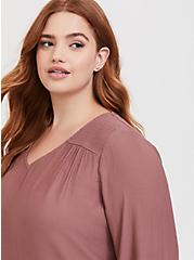 Plus Size Walnut Smocked Crepe Blouse, BROWN, alternate