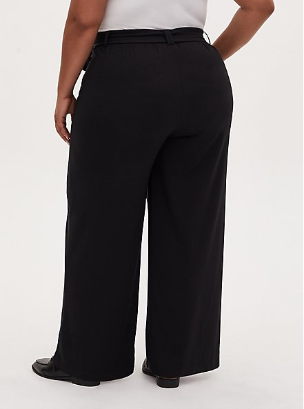 Wide Leg Tie Front Crepe Pant - Black, DEEP BLACK, alternate
