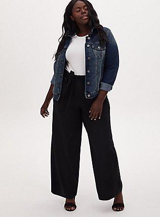 Black Crepe Self Tie Wide Leg Pant, DEEP BLACK, alternate
