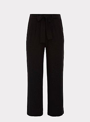 Plus Size Wide Leg Tie Front Crepe Pant - Black, DEEP BLACK, flat