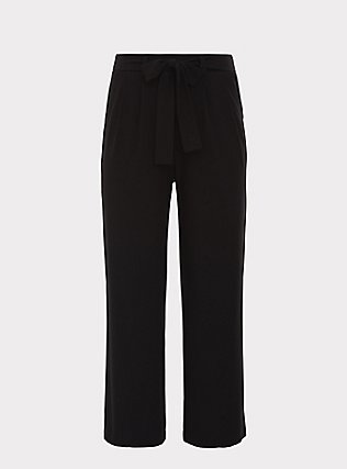 Wide Leg Tie Front Crepe Pant - Black, DEEP BLACK, flat