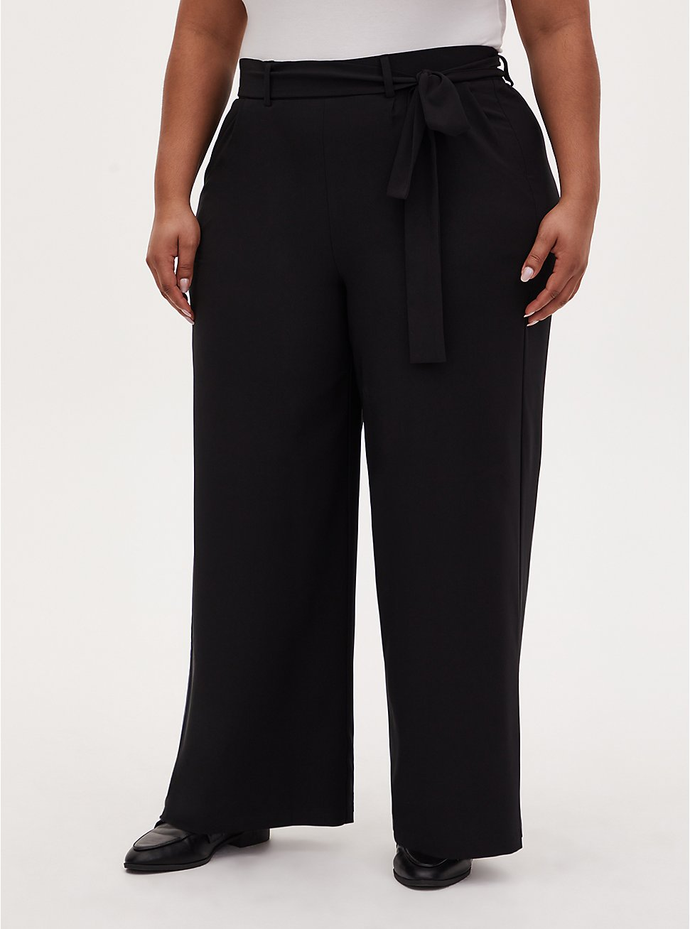 Plus Size Black Crepe Self Tie Wide Leg Pant, DEEP BLACK, hi-res