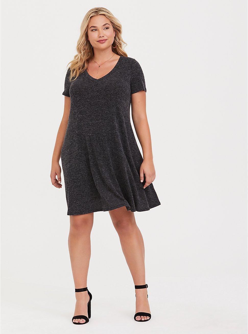 Super Soft Plush Grey V-Neck Trapeze Dress, , fitModel1-hires
