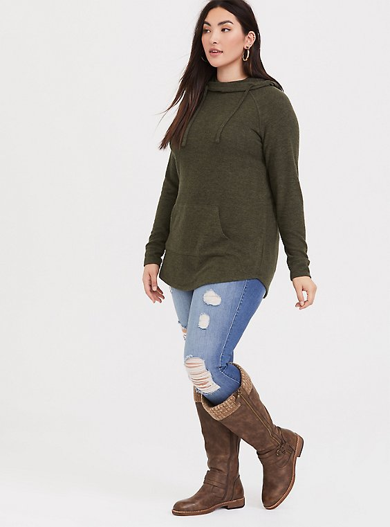 Super Soft Plush Olive Green Cowl Neck Tunic Hoodie, , hi-res