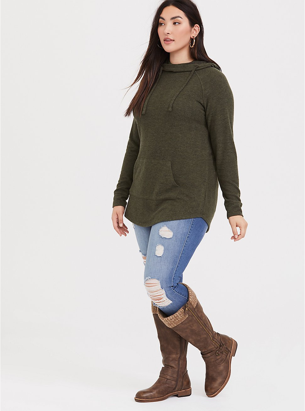 Super Soft Plush Olive Green Cowl Neck Tunic Hoodie, DEEP DEPTHS, hi-res