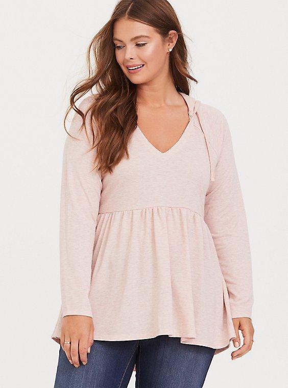 Plus Size Heather Blush Pink Hooded Babydoll Sweatshirt, , hi-res