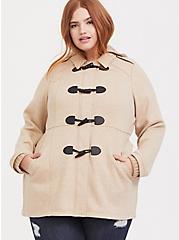 Tan Hooded Toggle Coat, , alternate