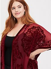 Red Burnout Velvet Chiffon Kimono, RED FERN, alternate