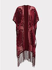 Red Burnout Velvet Chiffon Kimono, RED FERN, hi-res