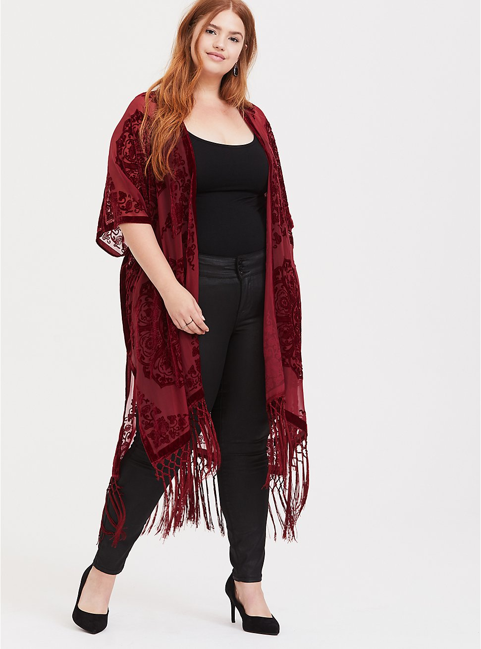 Red Burnout Velvet Chiffon Kimono, RED FERN, hi-res