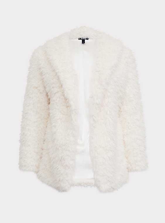 White Shearling Drape Teddy Jacket, , flat