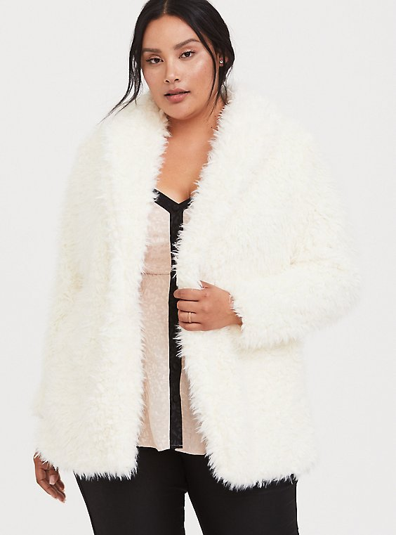 White Shearling Drape Teddy Jacket, , hi-res