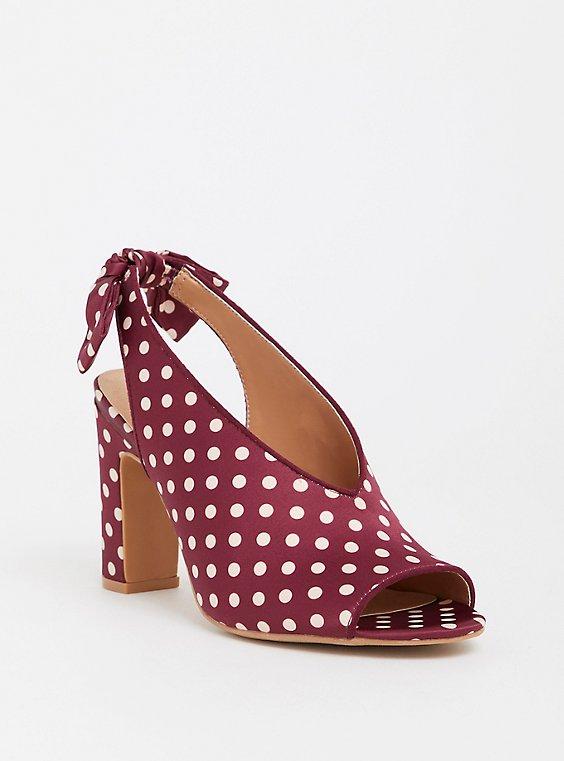 Plus Size Polka Dot Sling Back Heel (WW), , hi-res