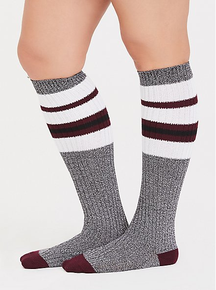 Grey Marled Knit Knee High Socks, GREY, alternate