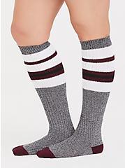 Plus Size Grey Marled Knit Knee High Socks, GREY, alternate