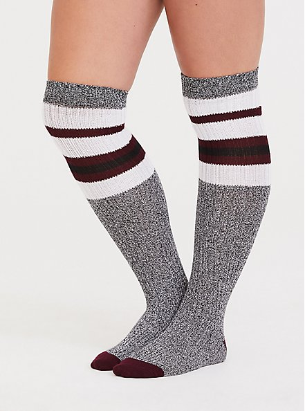 Grey Marled Knit Knee High Socks, GREY, hi-res