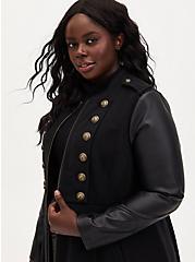 Black Mixed Media Military Coat, DEEP BLACK, alternate