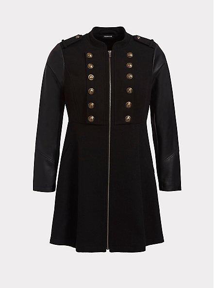 Black Mixed Media Military Coat, DEEP BLACK, hi-res