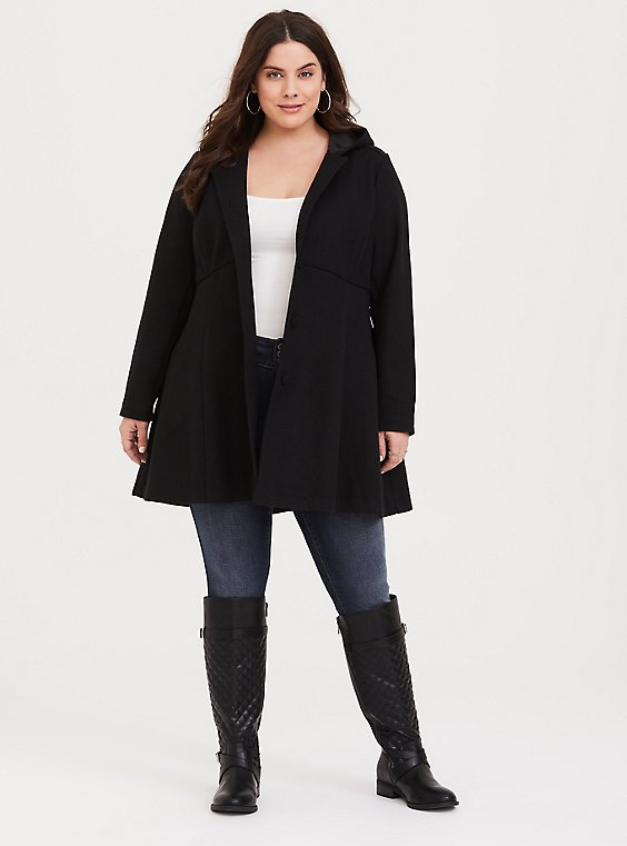 Plus Size Black Hooded Fit And Flare Coat, , hi-res