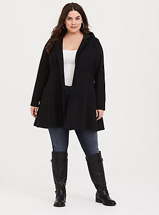 Black Hooded Fit And Flare Coat, DEEP BLACK, hi-res
