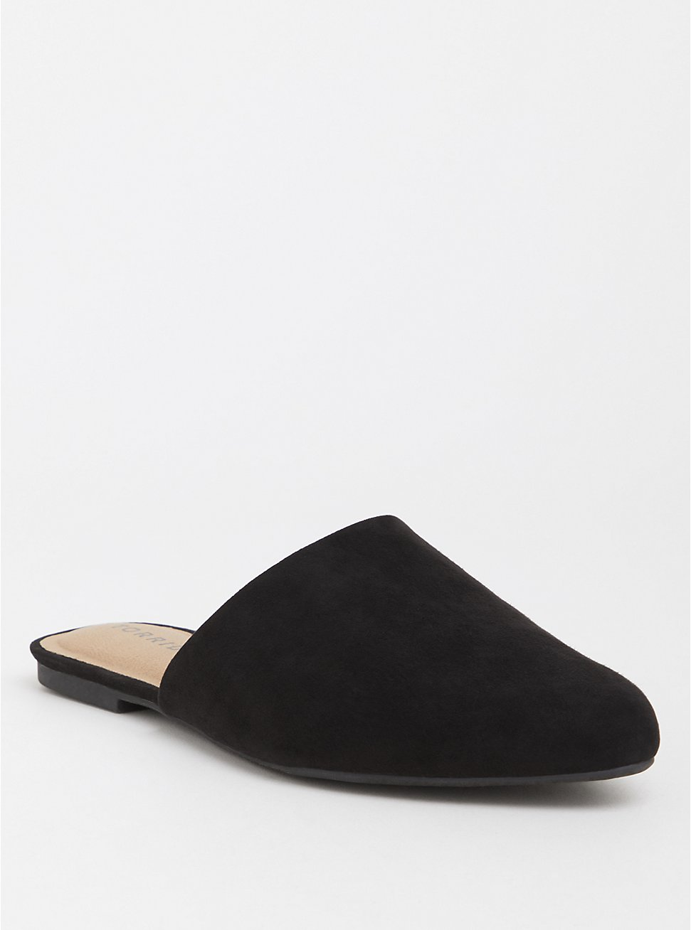 Black Faux Suede Mule (WW), BLACK, hi-res