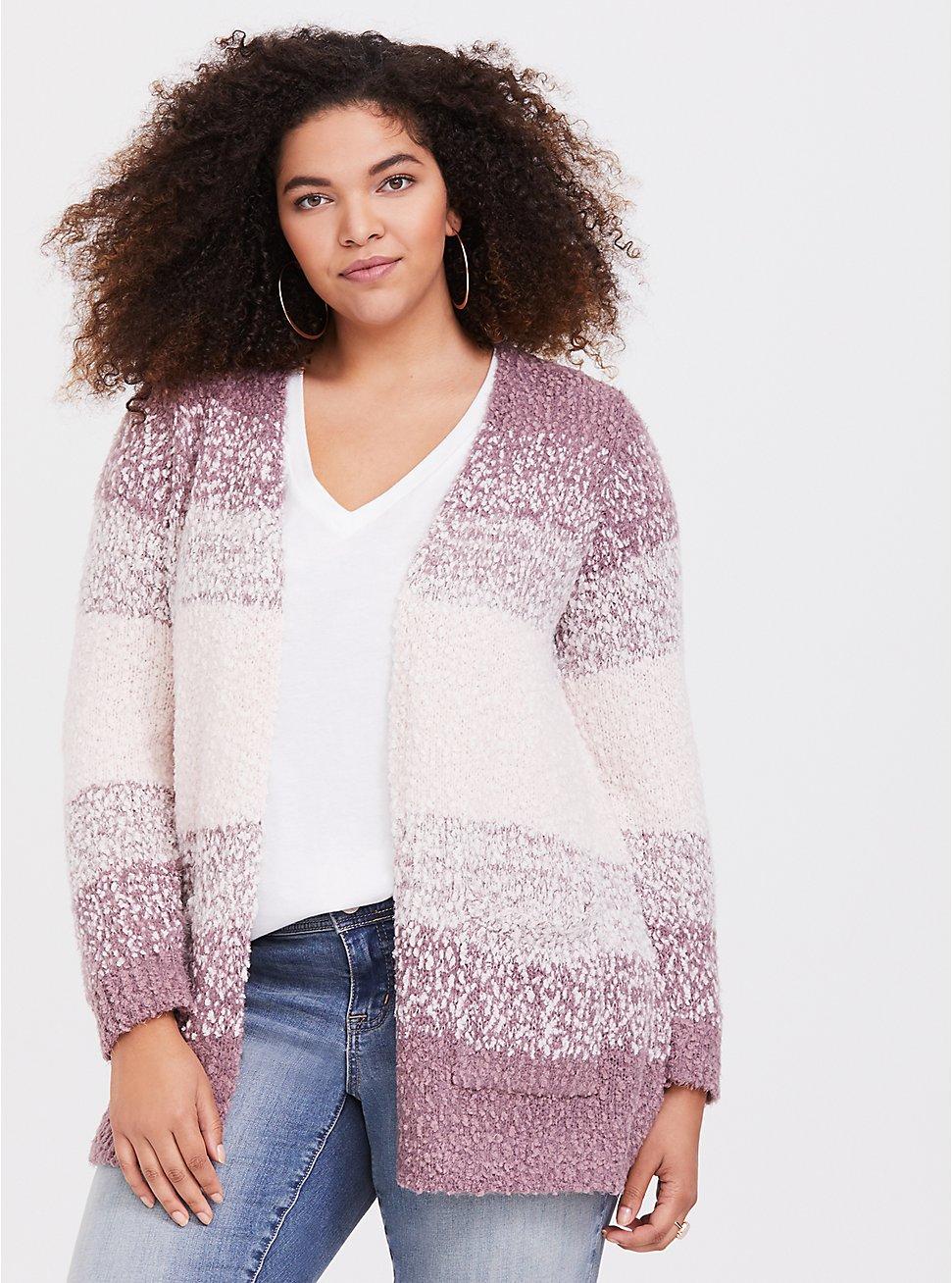Plus Size Pink Ombre Textured Cardigan, MULTI STRIPE, hi-res