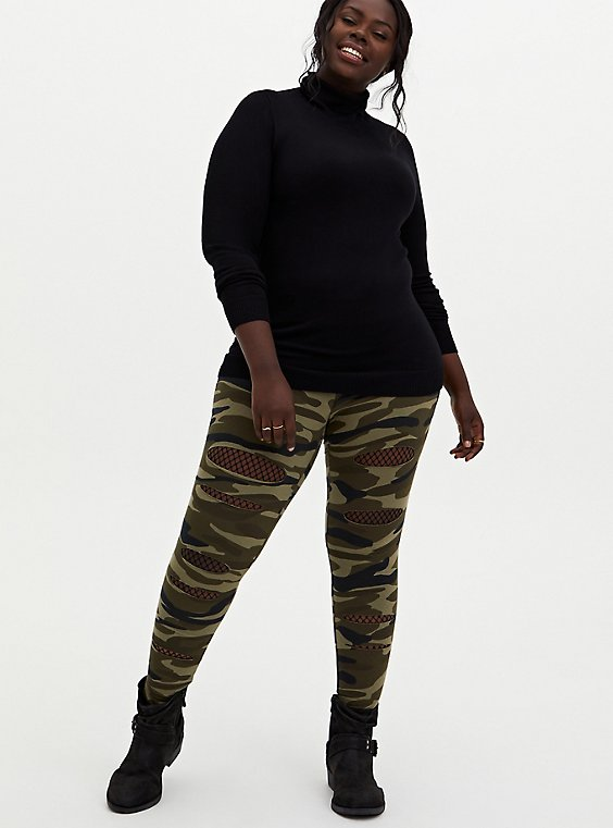 Premium Legging - Slashed Fishnet Underlay Camo, , hi-res
