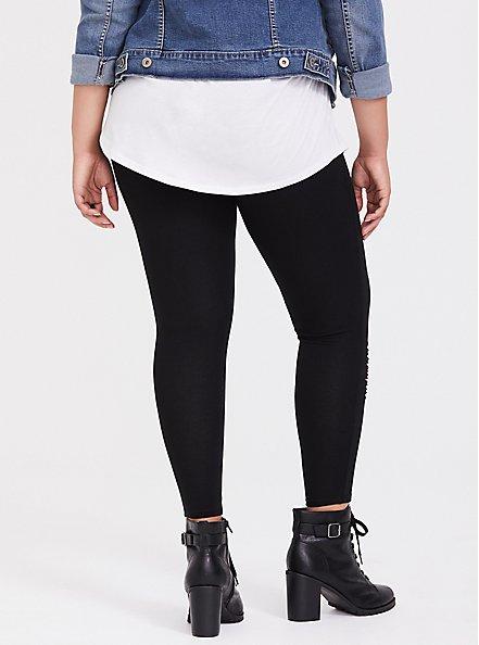 Premium Legging - Slashed Plaid Underlay Black, BLACK, alternate