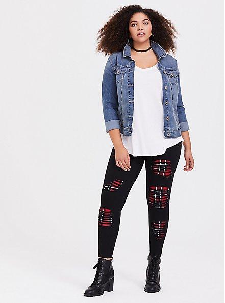 Premium Legging - Slashed Plaid Underlay Black, BLACK, hi-res