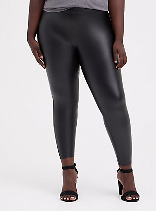 Plus Size Platinum Legging – Faux Leather Black, BLACK, alternate