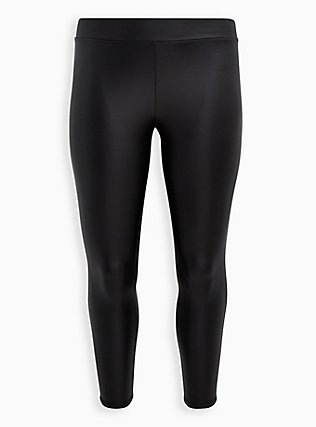 Platinum Legging – Faux Leather Black, BLACK, flat
