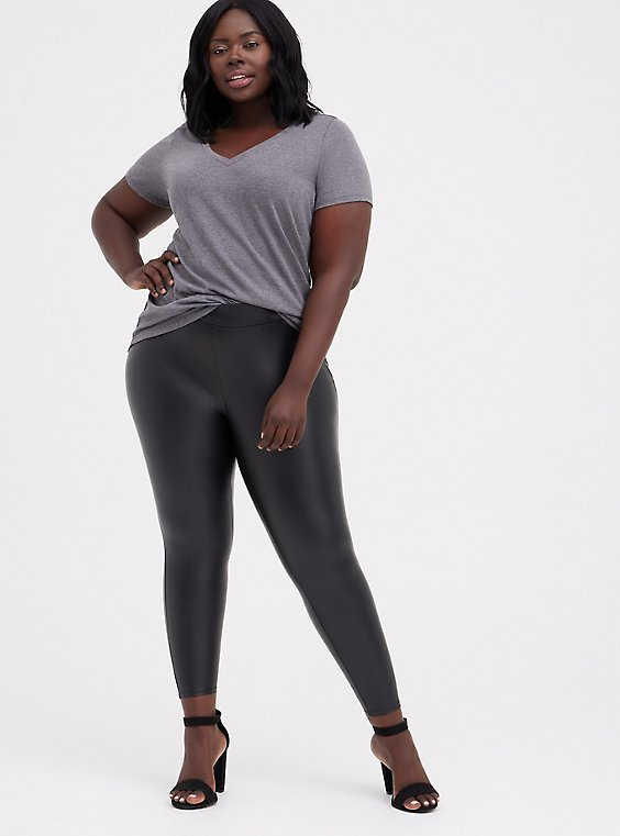 Plus Size Platinum Legging – Faux Leather Black, , hi-res
