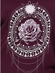 Burgundy Purple Princess Mandala Ruffle Sweater, BURGUNDY, alternate