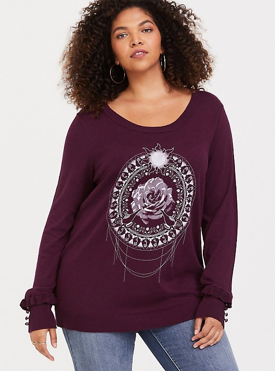 Burgundy Purple Princess Mandala Ruffle Sweater, , hi-res