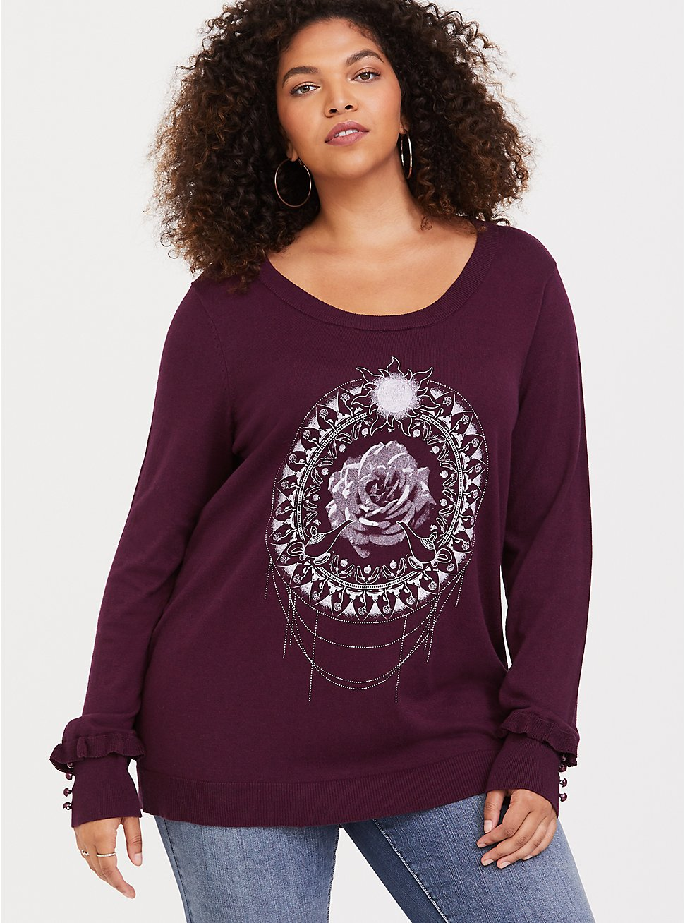Burgundy Purple Princess Mandala Ruffle Sweater, BURGUNDY, hi-res