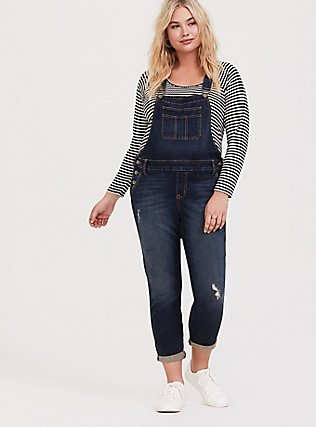 Crop Overall - Vintage Stretch Dark Wash, DARK WASH, hi-res