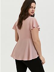 Pink Georgette Flutter Sleeve Babydoll Blouse, DUSTY QUARTZ, alternate