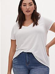 White Classic Fit Girlfriend Tee, BRIGHT WHITE, hi-res