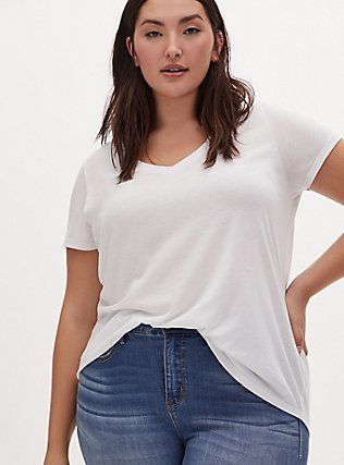 Plus Size Classic Fit V-Neck Tee - Heritage Cotton White, BRIGHT WHITE, hi-res
