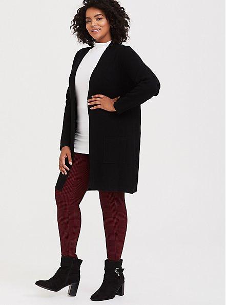 Black Longline Cardigan, DEEP BLACK, alternate