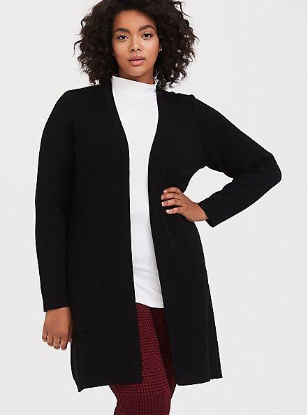 Black Longline Cardigan, DEEP BLACK, hi-res