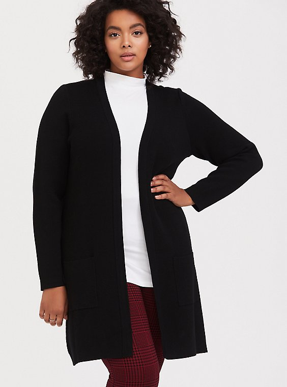 Black Longline Cardigan, , hi-res