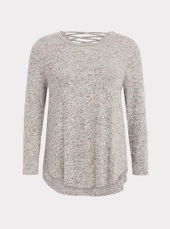 Super Soft Plush Light Grey Lattice Back Tunic, , flat