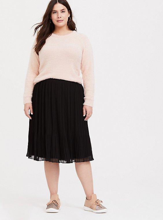 Black Chiffon Pleated Midi Skirt, , hi-res