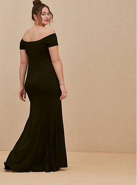 Special Occasion Black Ponte Off Shoulder Gown, DEEP BLACK, alternate