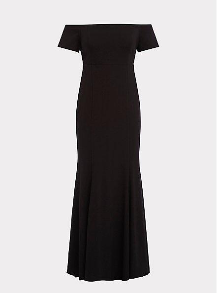 Special Occasion Black Ponte Off Shoulder Gown, DEEP BLACK, hi-res